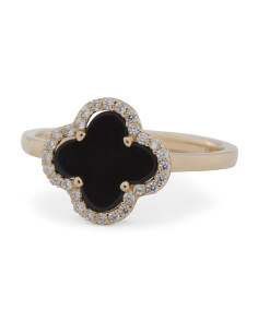 Made In USA 14k Gold Onyx And Cz Quatrefoil Ring