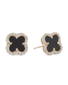 Made In USA 14k Gold Onyx Cz Quatrefoil Earrings
