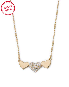 Made In USA 14k Gold Triple Heart Necklace