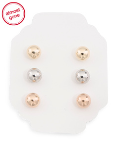 Made In USA 14k Tricolor Gold 6mm Ball Stud Earring Set