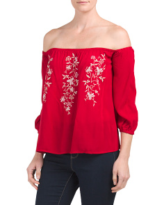 Juniors Embroidered Off The Shoulder Top