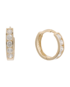 Made In USA 14k Gold Cz Huggie Earrings