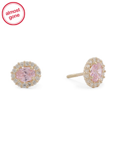Girls Made In USA 14k Gold CZ Oval Stud Earrings