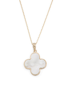 Made In USA 14k Gold Mother Of Pearl Quatrefoil Necklace