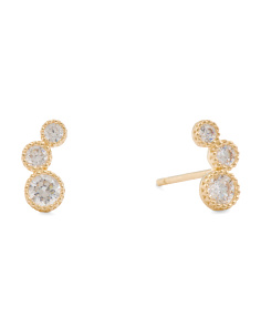 Made In USA 14k Gold Triple Cubic Zirconia Curved Stud Earrings