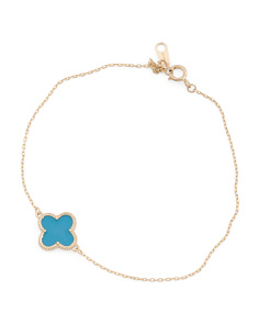 Made In USA 14k Gold Turquoise Quatrefoil Bracelet