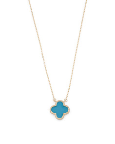 Made In USA 14k Gold Turquoise Quatrefoil Necklace