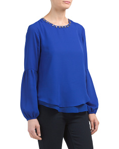 Petite Jewel Neck Crepe Popover Top