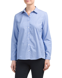 Petite Striped Button Front Shirt