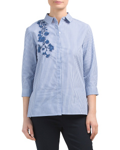 Petite Striped Floral Embroidery Shirt