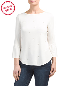 Petite Top With Pearl Applique