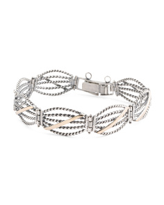 Made In Israel Sterling Silver 14k Gold Rope Cuff Bracelet