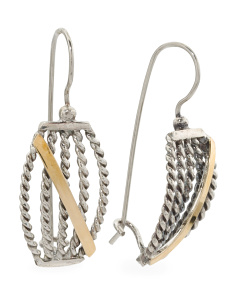 Made In Israel Sterling Silver And 14k Gold Rope Earrings