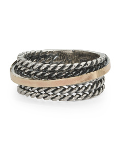 Made In Israel Sterling Silver And 14k Gold Rope Ring