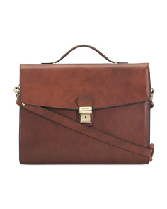 Made In Italy Leather Work Briefcase