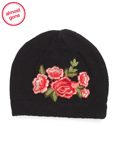 Beanie With Rose Patch