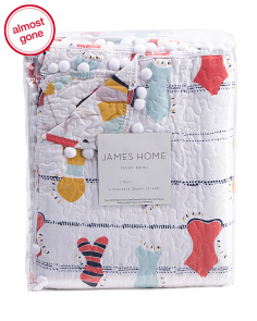 3pc Beach Days Pom Reversible Quilt Set