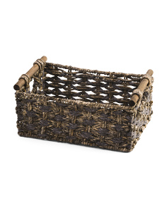 Medium Maize Woven Storage Bin With Oak Handles