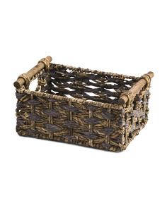 Small Woven Sorrento Bin With Oak Handles