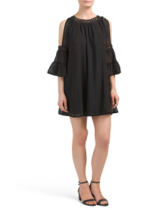 Juniors Cold Shoulder Eyelet Trim Dress