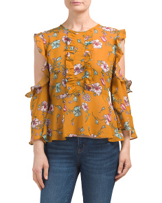 Juniors Cold Shoulder Floral Ruffle Top