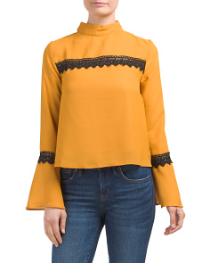 Juniors Contrast Lace Bell Sleeve Top