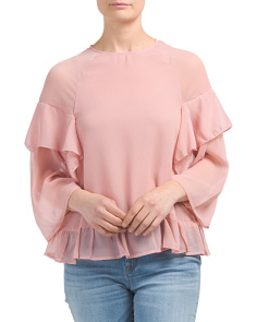 Juniors Crinkle Chiffon Ruffle Top