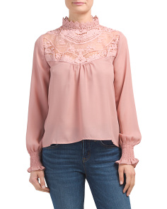 Juniors Lace Victorian Neck Top
