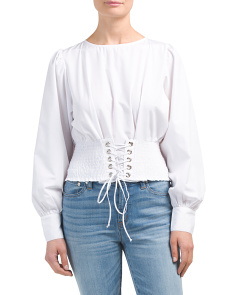 Juniors Poplin Corset Top