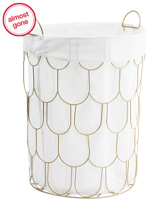 Medium Metal Scallop Laundry Hamper