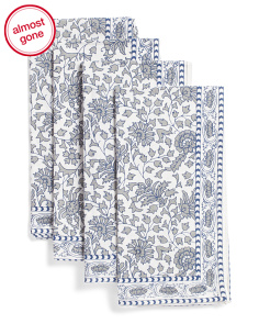 Made In India Set Of 4 Abigail Floral Napkins