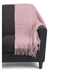 Faux Mohair Fringed Throw