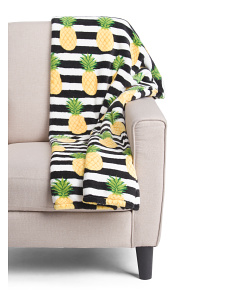 Pineapple Stripe Plush Throw