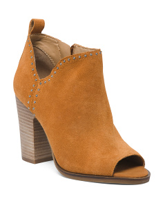 Suede Peep Toe Booties
