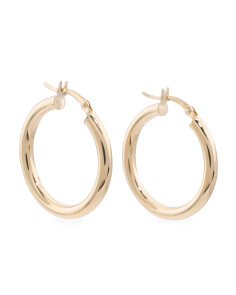 Made In Bolivia 14k Gold Polished 3mm X 25mm Hoop Earrings