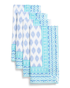 Made In India Set Of 4 Butti Print Napkins
