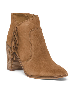 Side Zip Suede Booties