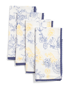 Made In India Set Of 4 Nella Floral Napkins
