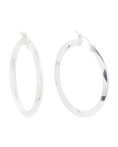 Made In Italy Sterling Silver Square Tube 35mm Hoop Earrings