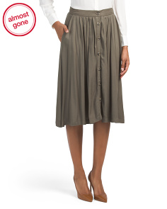 Juniors Button Front Midi Skirt