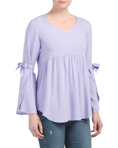 Babydoll Top With Tie Sleeves