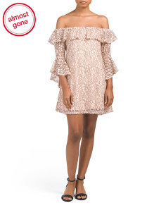 Juniors Off The Shoulder Lace Dress