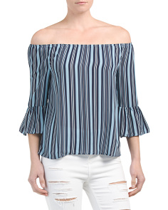 Juniors Stripe Bell Sleeve Top
