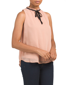 Juniors Tie Neck Sleeveless Top
