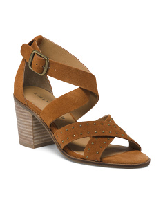 Strappy Stacked Heel Suede Sandals