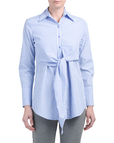 Tie Front Striped Poplin Top