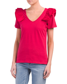 Double V-neck Ruffle Shoulder Top