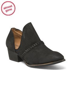 Side Cut Out Stitch Leather Booties