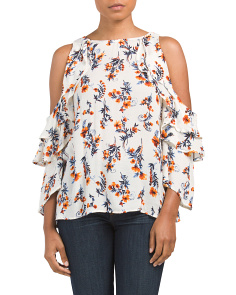 Double Ruffle Cold Shoulder Top
