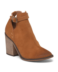 Made In Portugal Buckled Suede Booties